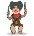Happy cartoon cowboy with two guns vector image