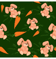 Rabbit with carrot seamless pattern green vector image