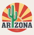 Arizona t shirt with styled saguaro cactus and sun vector image