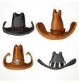 Cowboy hats set isolated on a white background vector image