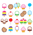 Cupcake ice-cream cookie lollipop icons vector image
