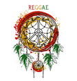 Dreamcatcher with cannabis leaves peace symbol vector image