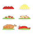 food on plate isolated on white background vector image