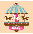 Greeting card with carousel vector image