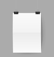 White sheet of paper hands on paper clips on grey vector image