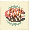 Creative logo design with salmon steak vector image