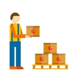 Loader man with boxes vector image
