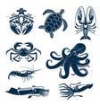 seafood marine animal icon set for food design vector image