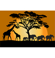 Savannah landscape with animals vector image vector image
