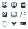 set of 9 computer hardware icons includes printed vector image