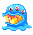 A monster with a gift in his mouth vector image vector image