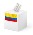 Ballot box with voting paper Colombia vector image