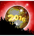 New Years party 2016 with disco ball and crowd vector image