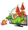 Castle and dragon on the screen vector image vector image
