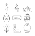 Set of Easter outline flat icons Collection vector image vector image
