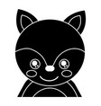 cute portrait fox animal baby with close eyes vector image