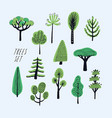 set of cartoon doodle trees beautiful hand drawn vector image