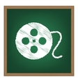 Film circular sign White chalk effect on green vector image