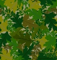 camouflage background leaves green hues vector image