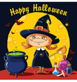 Little Witch brews a potion vector image