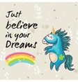 Dreams card with cute unicorn cartoon vector image