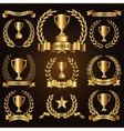 Trophy awards golden badges and labels collection vector