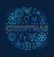 christmas round blue outline symbol on dark vector image