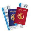 passports tickets air travel realistic composition vector image