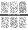 Set of backgrounds in with doodles flowers vector image