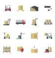 Warehouse Icons Flat Set vector image