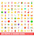 100 trophy and awards icons set cartoon style vector image