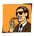 businessman lights a cigar with dollar vector image vector image
