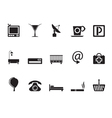 Silhouette Hotel and motel icons vector image vector image