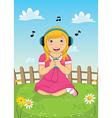 Girl Listening Music vector image