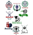 Heraldic sporting emblems or badges vector image vector image