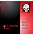 Halloween invite with skull and text vector image