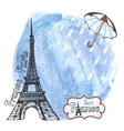 Paris Eiffel towerWatercolor splashumbrellarain vector image