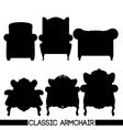 Black classic armchair set in outlines over white vector image