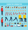 male character constructor flat composition vector image