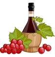 Red wine in italian fiasco bottle vector image