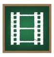 Reel of film sign White chalk effect on green vector image