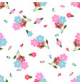 seamless pattern colorful flowers and leaves vector image
