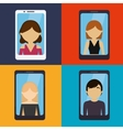 set ed people smartphone communication vector image