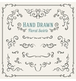 Set of the hand drawn floral swirls vector image