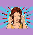 woman headache medical symptom of the disease vector image