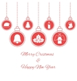 Hanging red baubles vector image