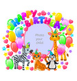 birthday frame for your baby photo vector image