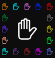 Hand print Stop icon sign Lots of colorful symbols vector image