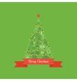 Green stylized Christmas tree Christmas greeting vector image