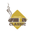 classic style logotype with cigars against yellow vector image